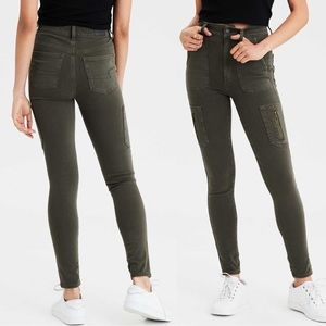 AEO Highest Rise Cargo Jeggings Olive Green 6 S